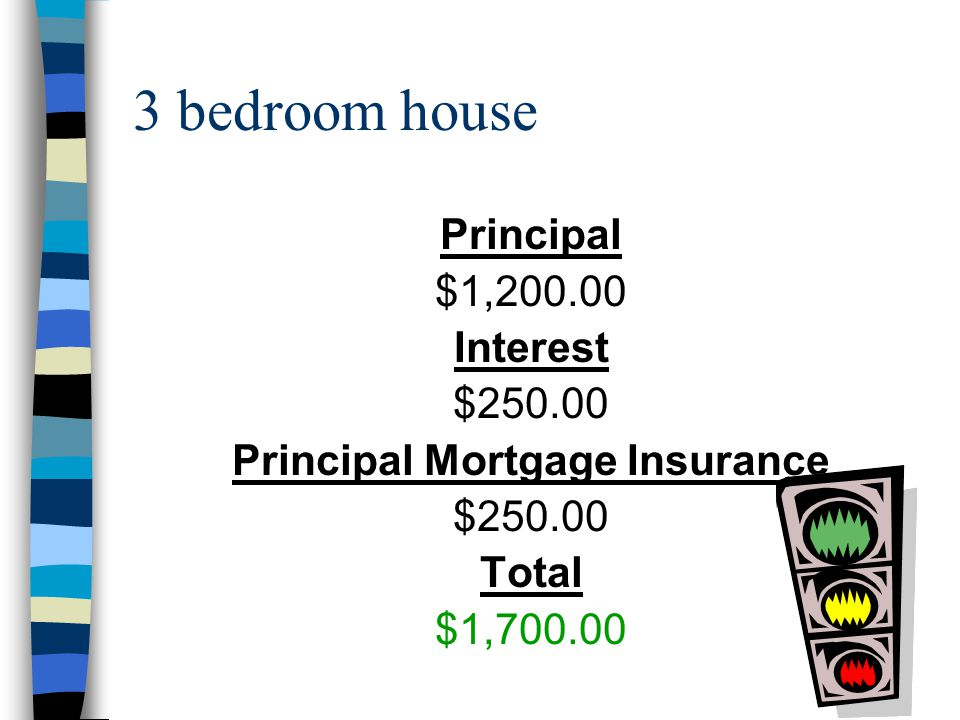 2 bedroom house Principal $1,000.00 Interest $210.00 Principal Mortgage Insurance $200.00 Total $1,410.00