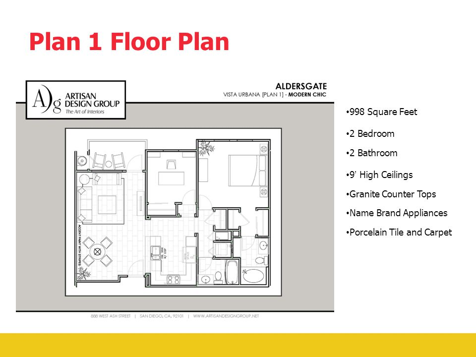 Vista Urbana Floor Plans Each floor plan will feature: 9' high ceilings Walls wired for internet and flat screen TV's.