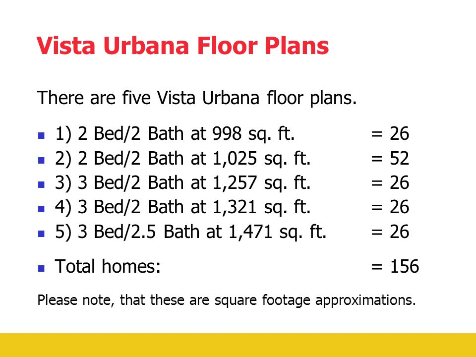 How Vista Urbana Benefits You.Mortgage payment is less or equal to what you would pay in rent.