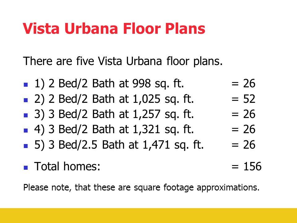 Vista Urbana Floor Plans There are five Vista Urbana floor plans.