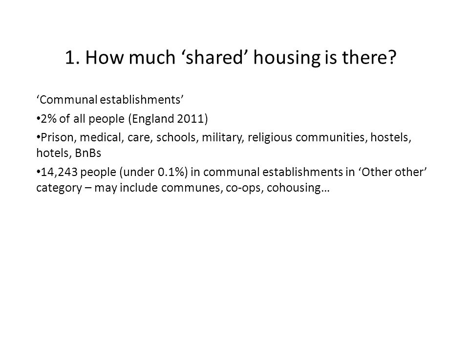1. How much 'shared' housing is there.