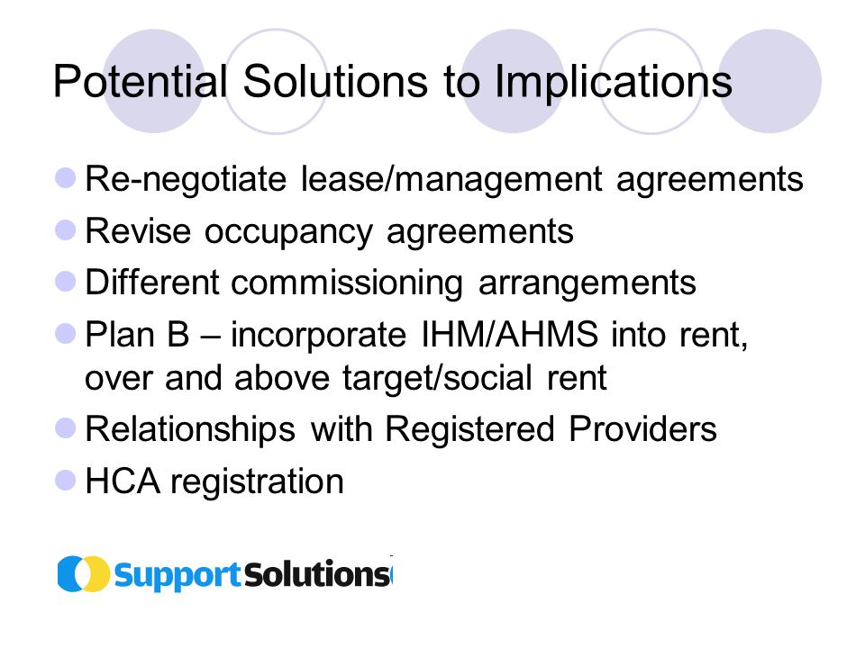Potential Solutions to Implications Re-negotiate lease/management agreements Revise occupancy agreements Different commissioning arrangements Plan B – incorporate IHM/AHMS into rent, over and above target/social rent Relationships with Registered Providers HCA registration
