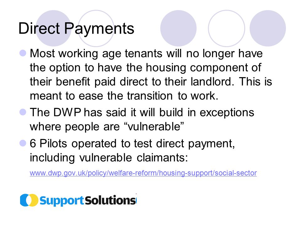 Direct Payments Most working age tenants will no longer have the option to have the housing component of their benefit paid direct to their landlord.