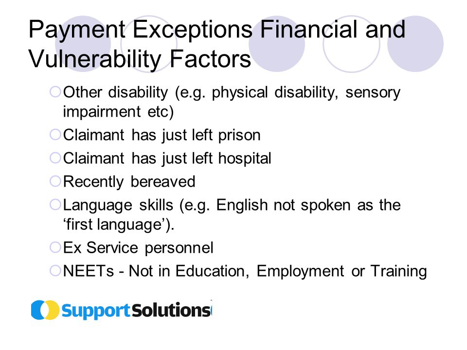 Payment Exceptions Financial and Vulnerability Factors  Other disability (e.g.
