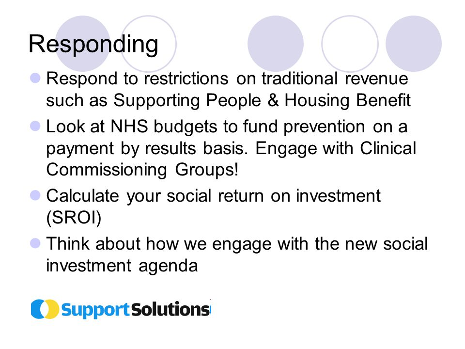 Responding Respond to restrictions on traditional revenue such as Supporting People & Housing Benefit Look at NHS budgets to fund prevention on a payment by results basis.