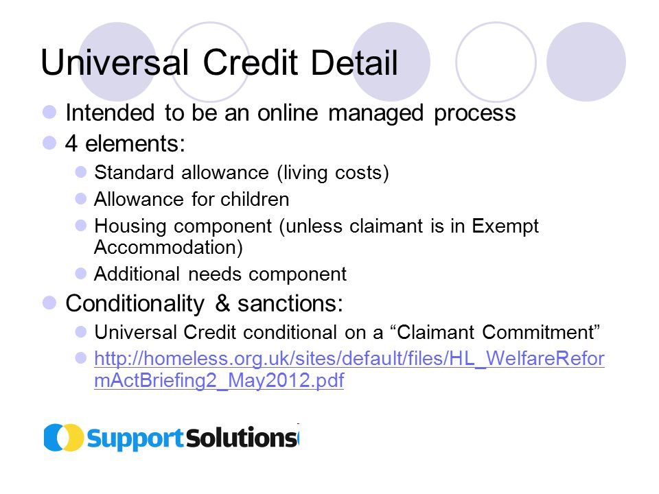 Universal Credit Detail Intended to be an online managed process 4 elements: Standard allowance (living costs) Allowance for children Housing component (unless claimant is in Exempt Accommodation) Additional needs component Conditionality & sanctions: Universal Credit conditional on a Claimant Commitment http://homeless.org.uk/sites/default/files/HL_WelfareRefor mActBriefing2_May2012.pdf http://homeless.org.uk/sites/default/files/HL_WelfareRefor mActBriefing2_May2012.pdf