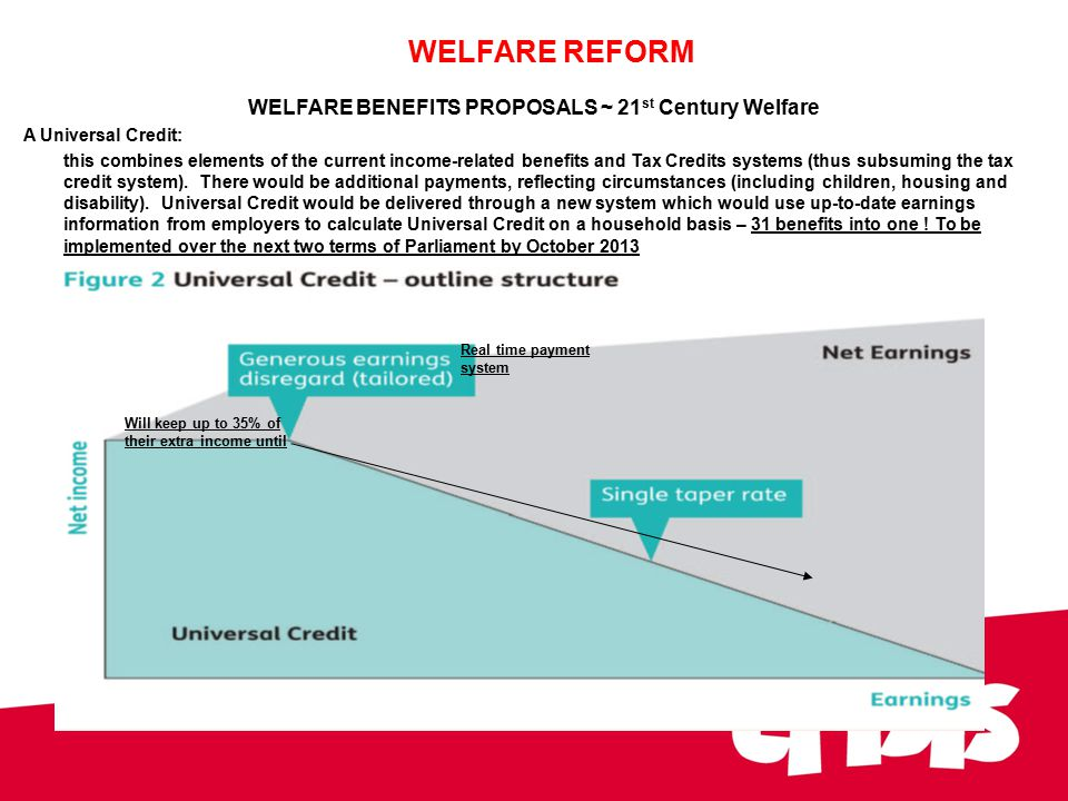 WELFARE BENEFITS PROPOSALS ~ 21 st Century Welfare A Universal Credit: this combines elements of the current income-related benefits and Tax Credits systems (thus subsuming the tax credit system).