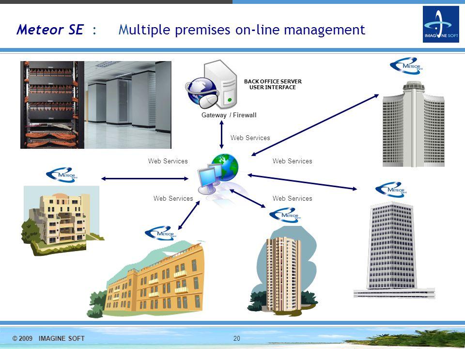 © 2009 IMAGINE SOFT 20 Meteor SE : Multiple premises on-line management Web Services Gateway / Firewall BACK OFFICE SERVER USER INTERFACE INTERNET Web Services