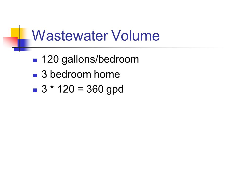 Wastewater Volume 120 gallons/bedroom 3 bedroom home 3 * 120 = 360 gpd