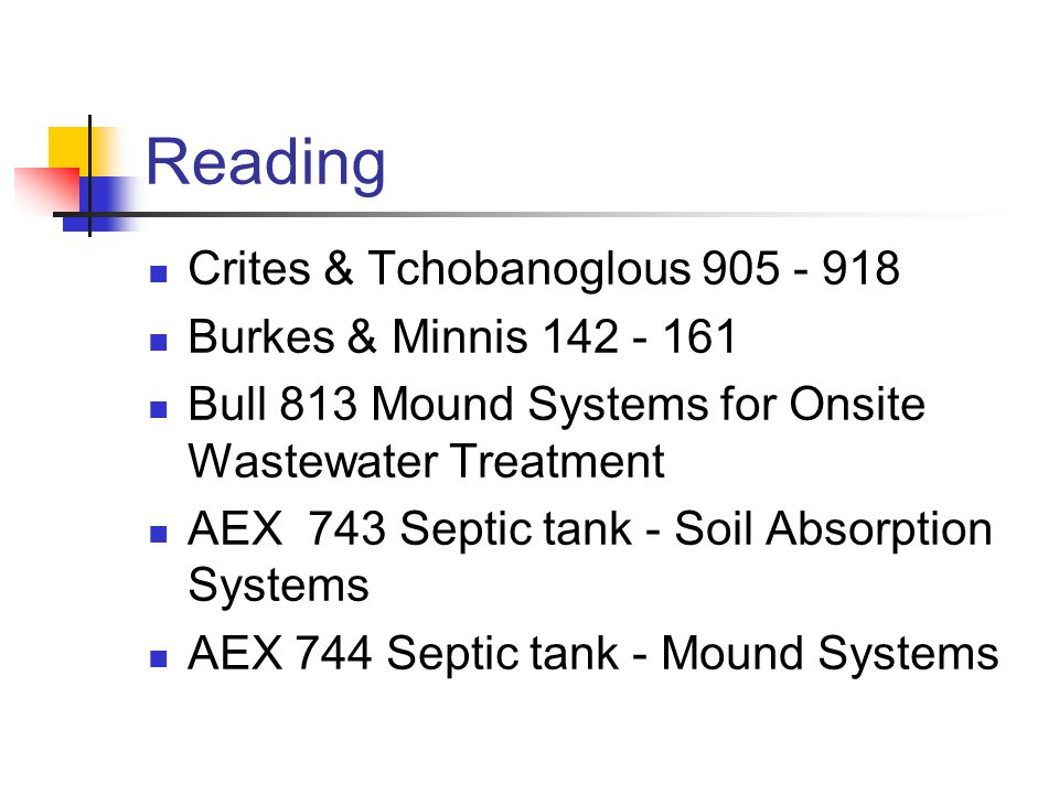 Reading Crites & Tchobanoglous 905 - 918 Burkes & Minnis 142 - 161 Bull 813 Mound Systems for Onsite Wastewater Treatment AEX 743 Septic tank - Soil Absorption Systems AEX 744 Septic tank - Mound Systems