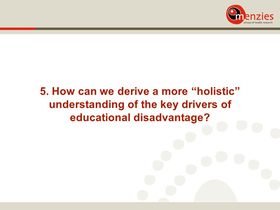 """5. How can we derive a more """"holistic"""" understanding of the key drivers of educational disadvantage?"""