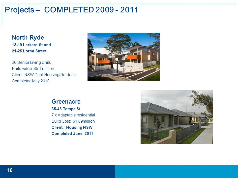 18 Projects – COMPLETED 2009 - 2011 North Ryde 13-19 Larkard St and 21-25 Lorna Street 26 Senior Living Units Build value: $5.1 million Client: NSW Dept Housing/Resitech Completed May 2010 Greenacre 35-43 Tempe St 7 x Adaptable residential.
