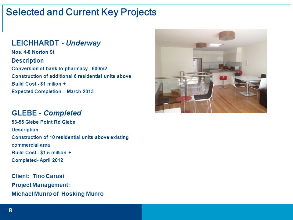 8 8 Selected and Current Key Projects LEICHHARDT - Underway Nos.