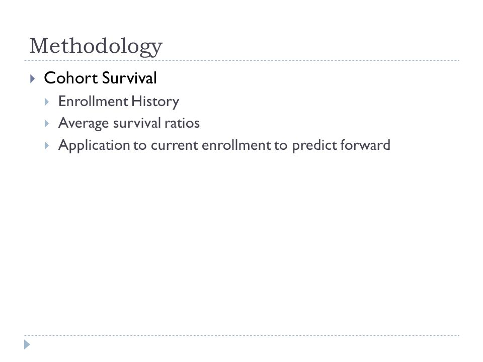 Methodology  Cohort Survival  Enrollment History  Average survival ratios  Application to current enrollment to predict forward