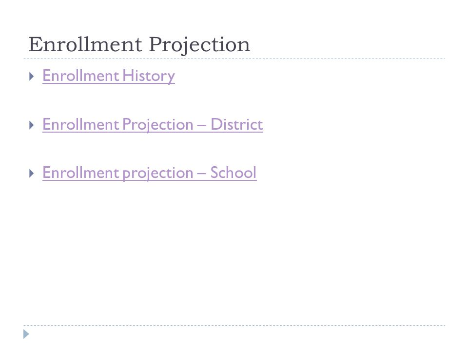 Enrollment Projection  Enrollment History Enrollment History  Enrollment Projection – District Enrollment Projection – District  Enrollment projection – School Enrollment projection – School