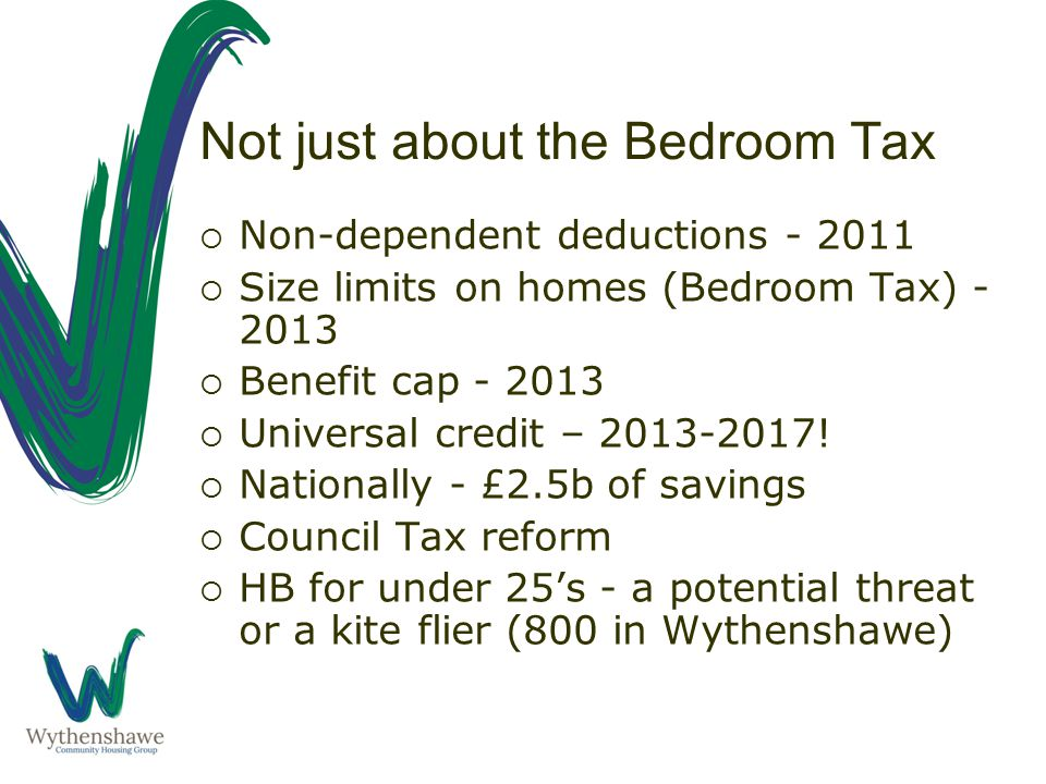 Not just about the Bedroom Tax  Non-dependent deductions - 2011  Size limits on homes (Bedroom Tax) - 2013  Benefit cap - 2013  Universal credit – 2013-2017.