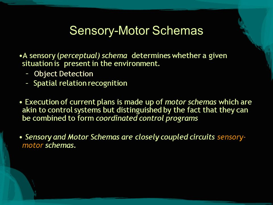 Sensory-Motor Schemas A sensory (perceptual) schema determines whether a given situation is present in the environment. – Object Detection – Spatial r