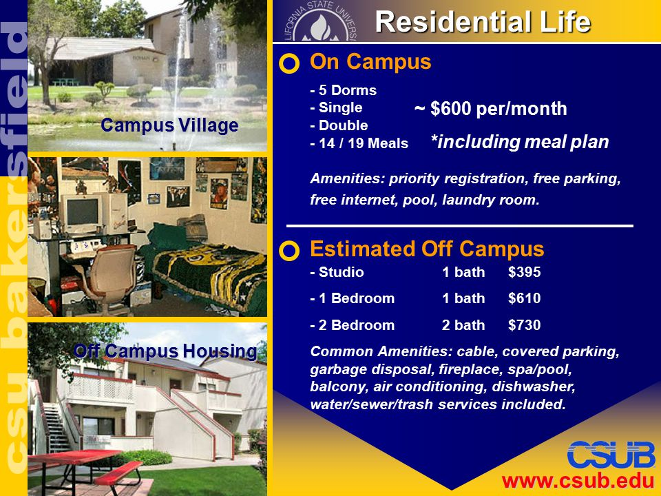 www.csub.edu Residential Life Residential Life On Campus Estimated Off Campus Campus Village Off Campus Housing - Studio1 bath$395 - 1 Bedroom1 bath$610 - 2 Bedroom2 bath$730 Common Amenities: cable, covered parking, garbage disposal, fireplace, spa/pool, balcony, air conditioning, dishwasher, water/sewer/trash services included.
