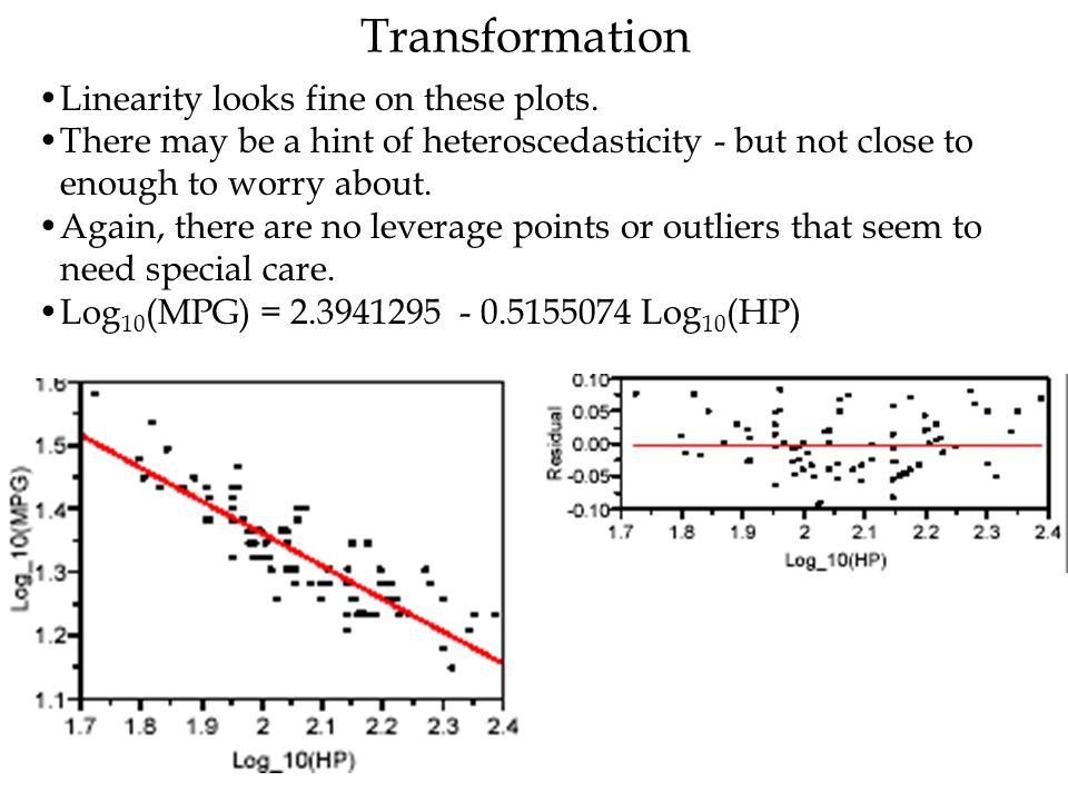 Transformation Linearity looks fine on these plots. There may be a hint of heteroscedasticity - but not close to enough to worry about. Again, there a