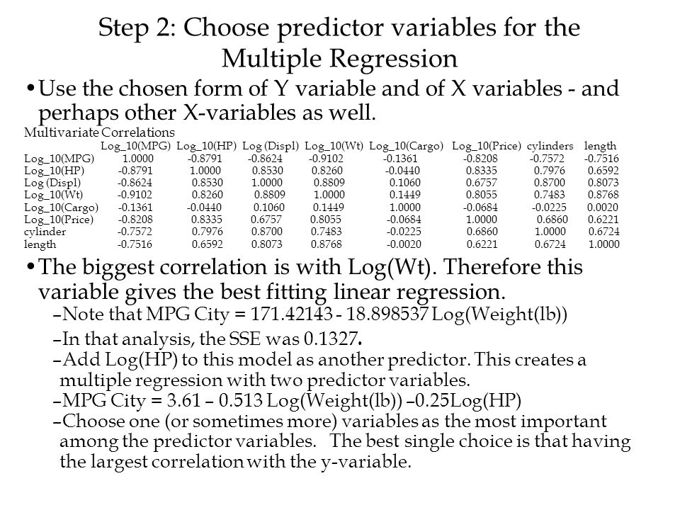 Step 2: Choose predictor variables for the Multiple Regression Use the chosen form of Y variable and of X variables - and perhaps other X-variables as