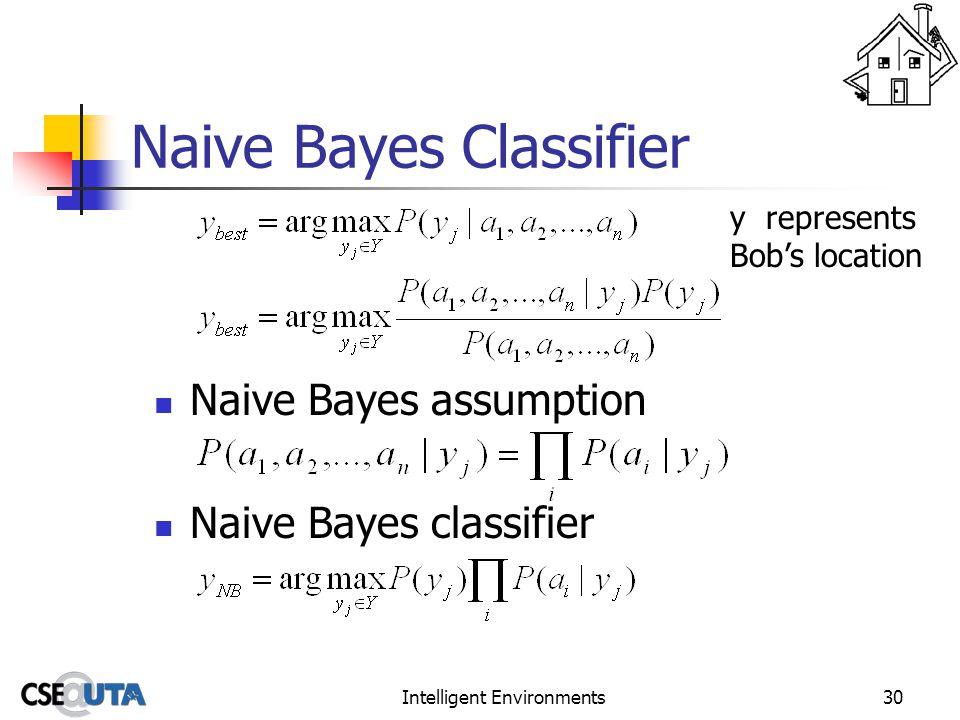 Intelligent Environments30 Naive Bayes Classifier Naive Bayes assumption Naive Bayes classifier y represents Bob's location
