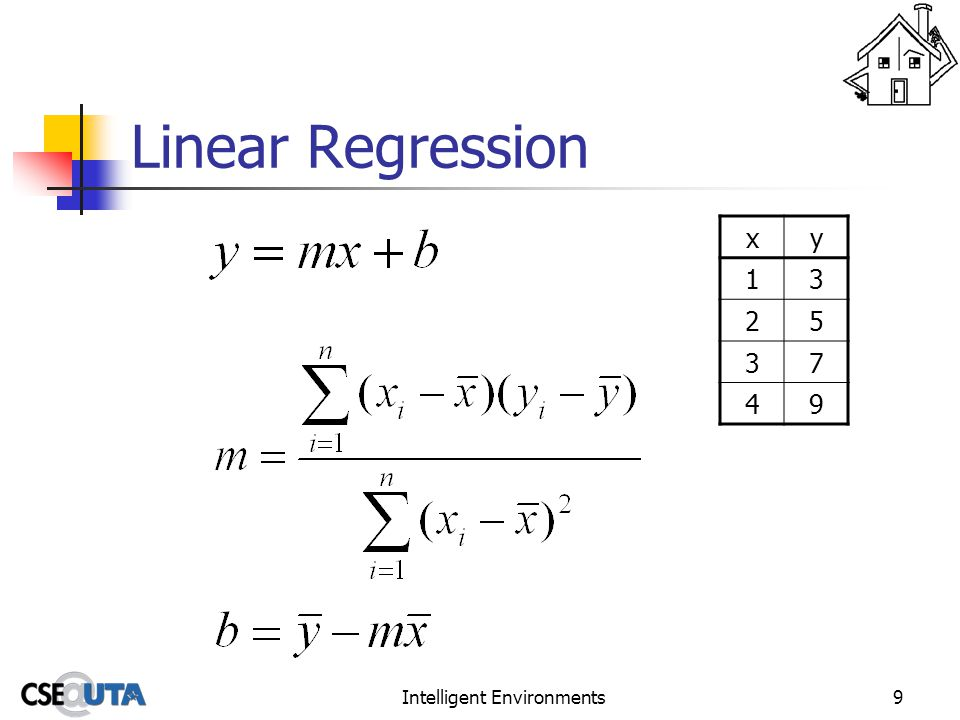 Intelligent Environments9 Linear Regression xy 13 25 37 49