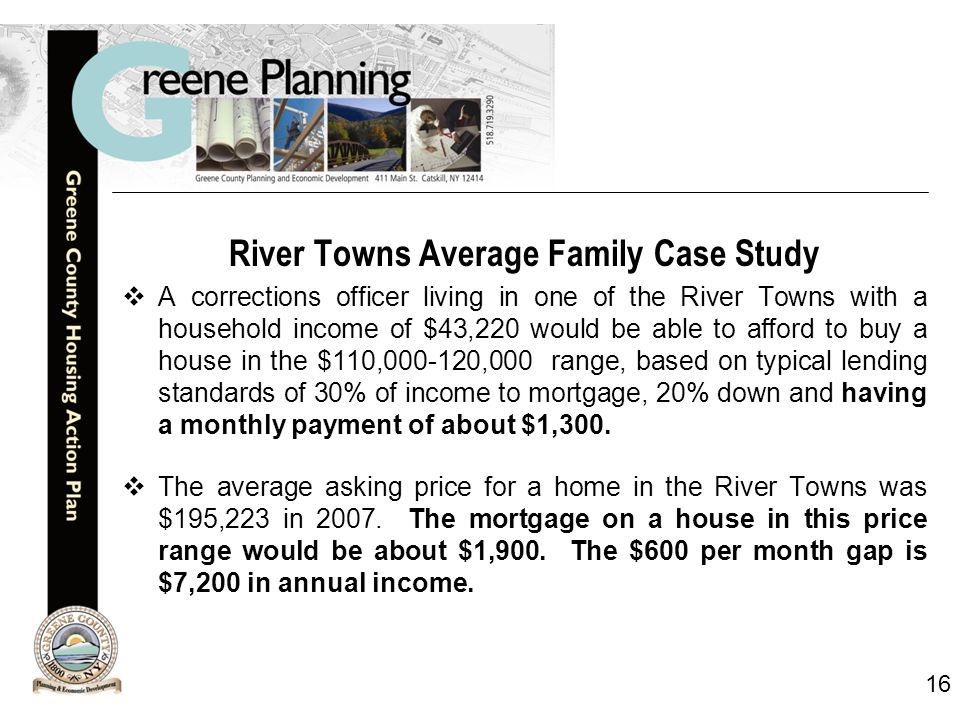 16 River Towns Average Family Case Study  A corrections officer living in one of the River Towns with a household income of $43,220 would be able to afford to buy a house in the $110,000-120,000 range, based on typical lending standards of 30% of income to mortgage, 20% down and having a monthly payment of about $1,300.