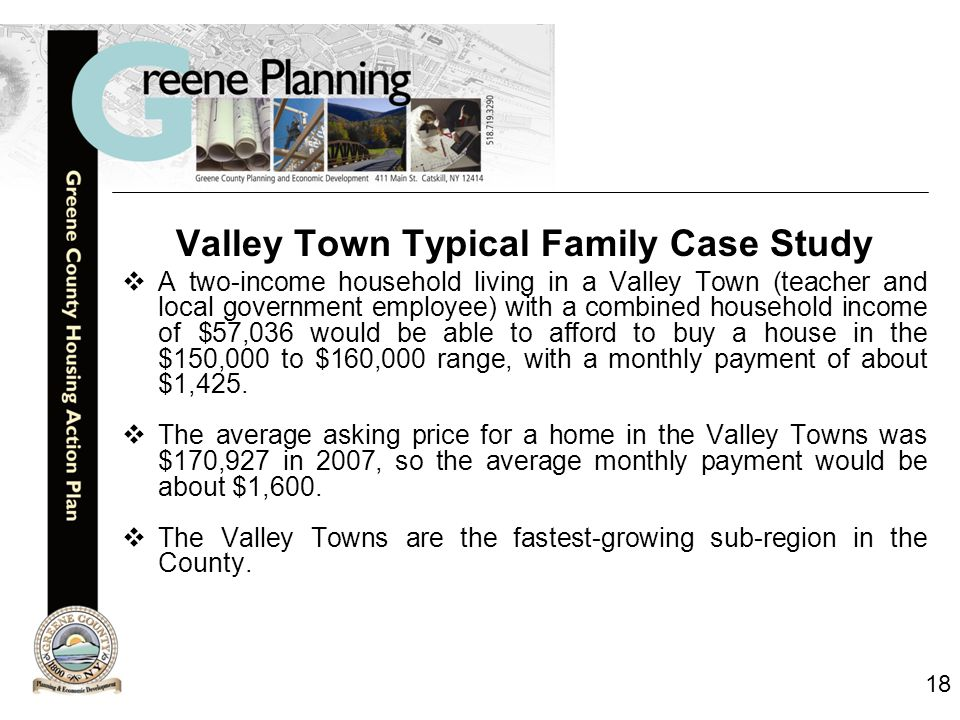 18 Valley Town Typical Family Case Study  A two-income household living in a Valley Town (teacher and local government employee) with a combined household income of $57,036 would be able to afford to buy a house in the $150,000 to $160,000 range, with a monthly payment of about $1,425.