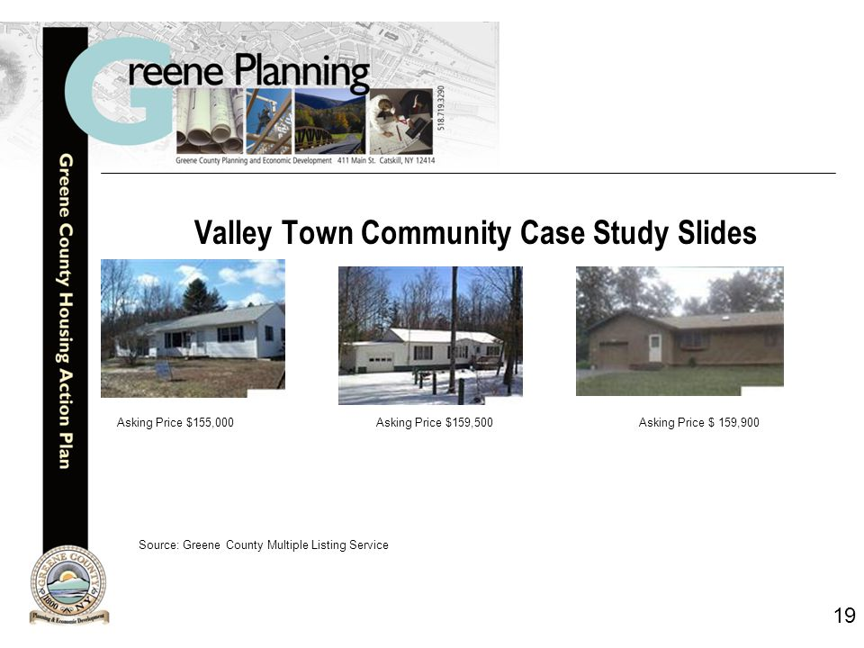 19 Valley Town Community Case Study Slides Asking Price $155,000Asking Price $159,500 Asking Price $ 159,900 Source: Greene County Multiple Listing Service
