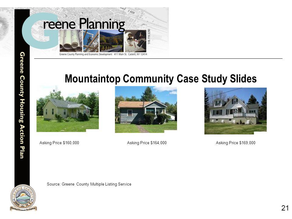 21 Mountaintop Community Case Study Slides Asking Price $160,000Asking Price $164,000 Asking Price $169,000 Source: Greene County Multiple Listing Service