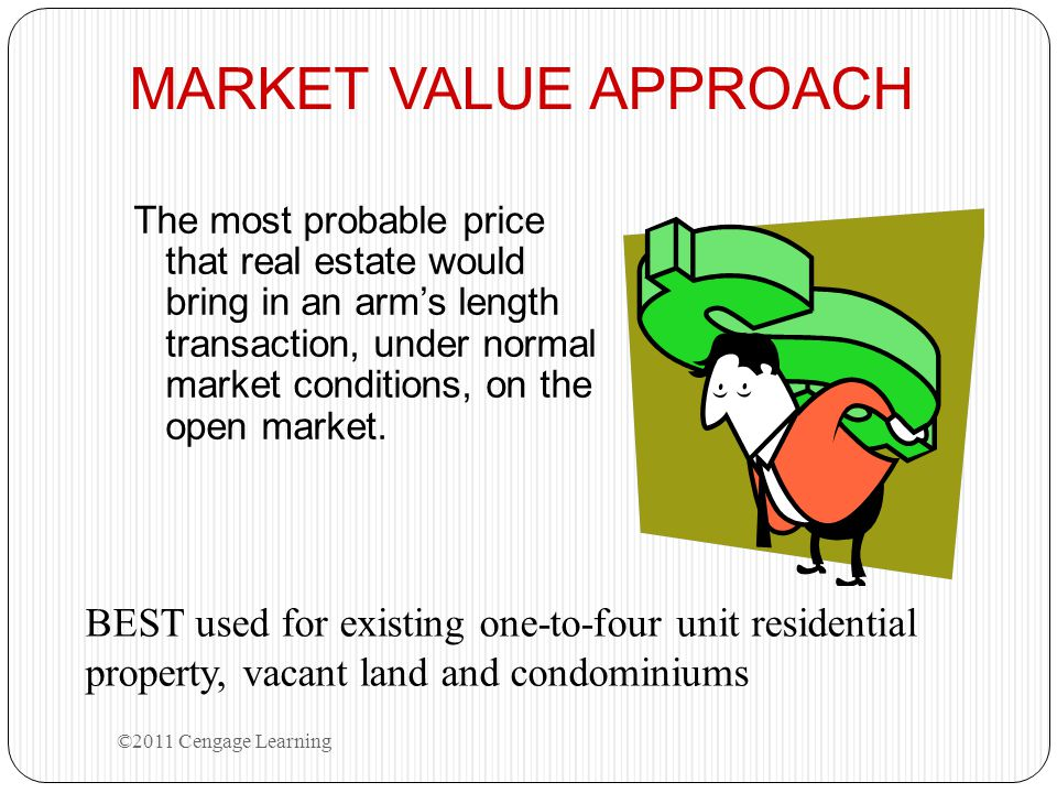MARKET VALUE APPROACH The most probable price that real estate would bring in an arm's length transaction, under normal market conditions, on the open