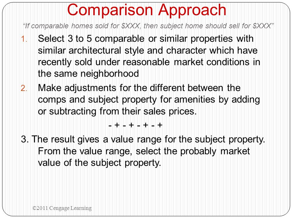 """Comparison Approach """"If comparable homes sold for $XXX, then subject home should sell for $XXX"""" 1. Select 3 to 5 comparable or similar properties with"""