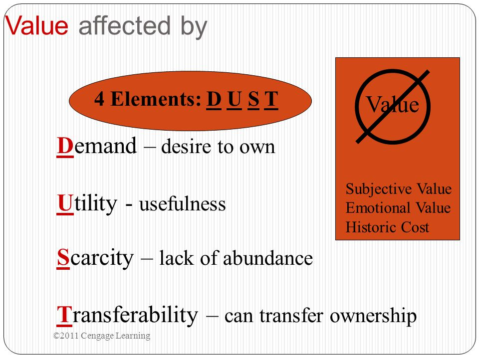 Value affected by ©2011 Cengage Learning 4 Elements: D U S T Demand – desire to own Utility - usefulness Scarcity – lack of abundance Transferability