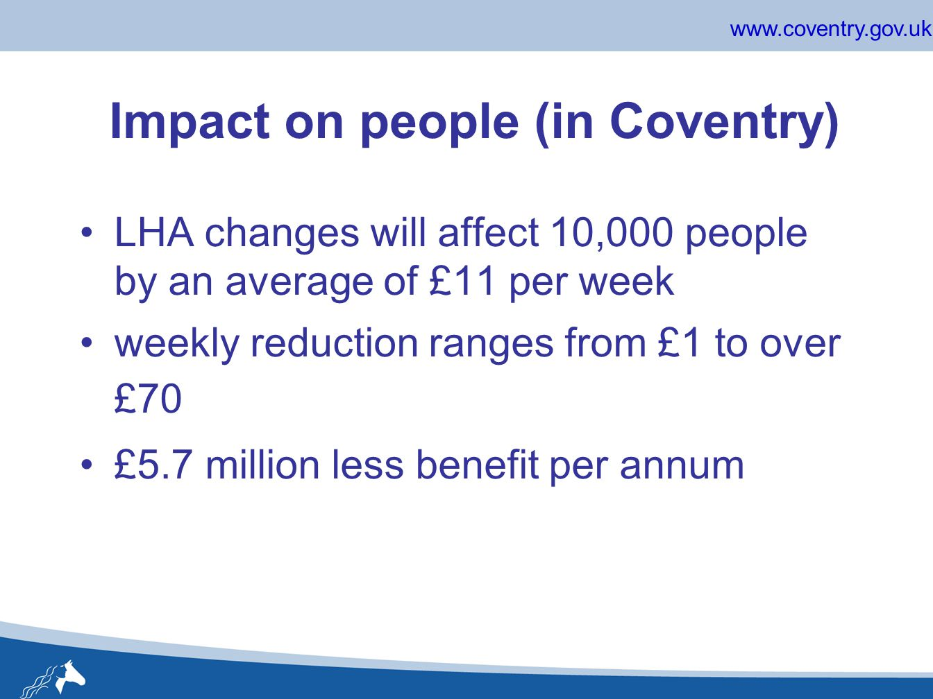 www.coventry.gov.uk Impact on people (in Coventry) LHA changes will affect 10,000 people by an average of £11 per week weekly reduction ranges from £1 to over £70 £5.7 million less benefit per annum