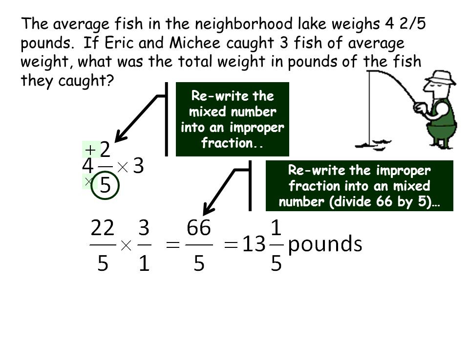 The average fish in the neighborhood lake weighs 4 2/5 pounds.
