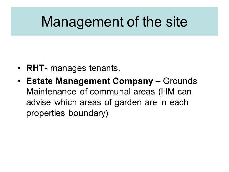 Management of the site RHT- manages tenants.
