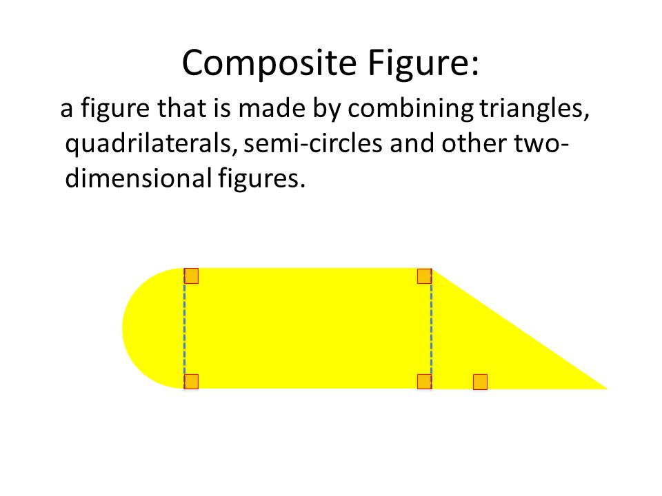 Composite Figure: a figure that is made by combining triangles, quadrilaterals, semi-circles and other two- dimensional figures.