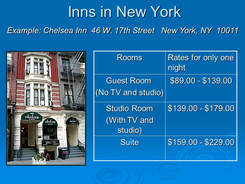 Hotel Rates in New York Example: Hotel 57 130 East 57th St.
