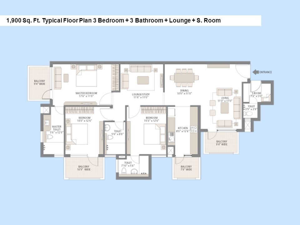 1,900 Sq. Ft. Typical Floor Plan 3 Bedroom + 3 Bathroom + Lounge + S. Room