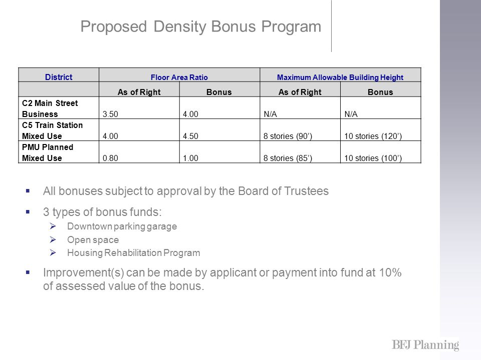 Proposed Density Bonus Program District Floor Area RatioMaximum Allowable Building Height As of RightBonusAs of RightBonus C2 Main Street Business3.504.00N/A C5 Train Station Mixed Use4.004.508 stories (90')10 stories (120') PMU Planned Mixed Use0.801.008 stories (85')10 stories (100')  All bonuses subject to approval by the Board of Trustees  3 types of bonus funds:  Downtown parking garage  Open space  Housing Rehabilitation Program  Improvement(s) can be made by applicant or payment into fund at 10% of assessed value of the bonus.