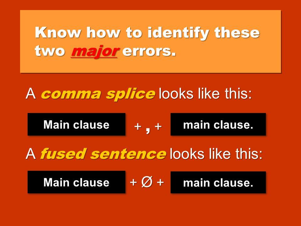 Comma Splices and Fused Sentences Comma Splices and Fused Sentences