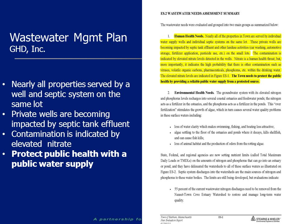 Wastewater Mgmt Plan GHD, Inc. Nearly all properties served by a well and septic system on the same lot Private wells are becoming impacted by septic