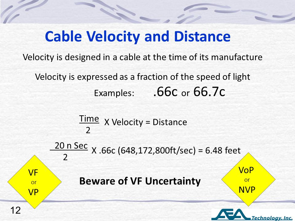 Cable Velocity and Distance Velocity is designed in a cable at the time of its manufacture Velocity is expressed as a fraction of the speed of light Examples:.66c or 66.7c Time 2 X Velocity = Distance 20 n Sec 2 X.66c (648,172,800ft/sec) = 6.48 feet VF or VP Beware of VF Uncertainty VoP or NVP 12
