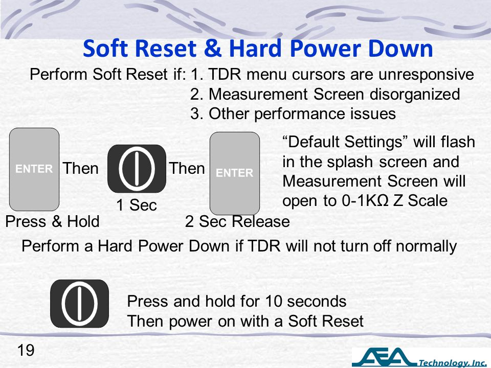 Soft Reset & Hard Power Down Perform Soft Reset if: 1. TDR menu cursors are unresponsive 2. Measurement Screen disorganized 3. Other performance issue