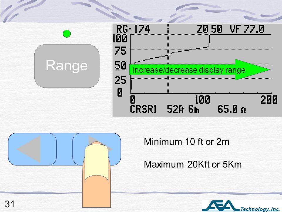 Minimum 10 ft or 2m Maximum 20Kft or 5Km Increase/decrease display range 31