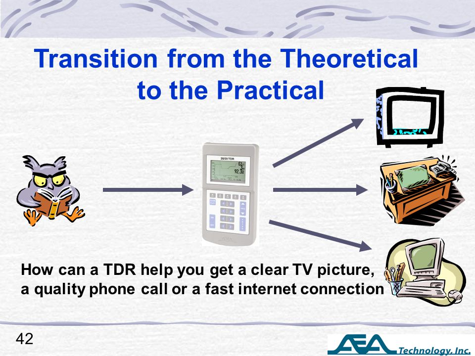 Transition from the Theoretical to the Practical How can a TDR help you get a clear TV picture, a quality phone call or a fast internet connection 42