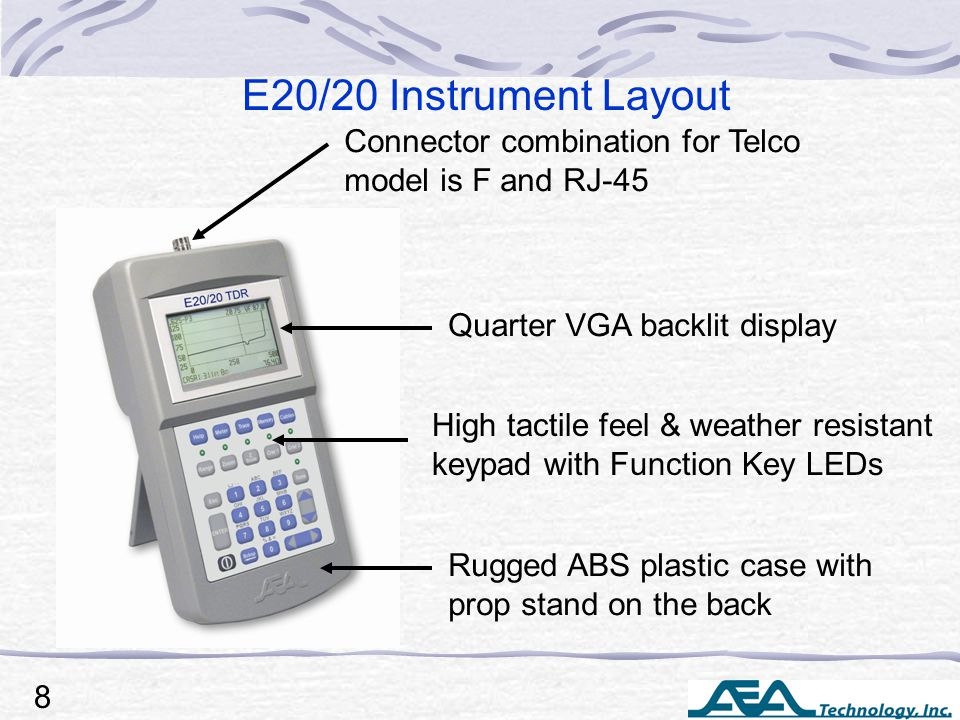 Connector combination for Telco model is F and RJ-45 E20/20 Instrument Layout Quarter VGA backlit display High tactile feel & weather resistant keypad with Function Key LEDs Rugged ABS plastic case with prop stand on the back 8