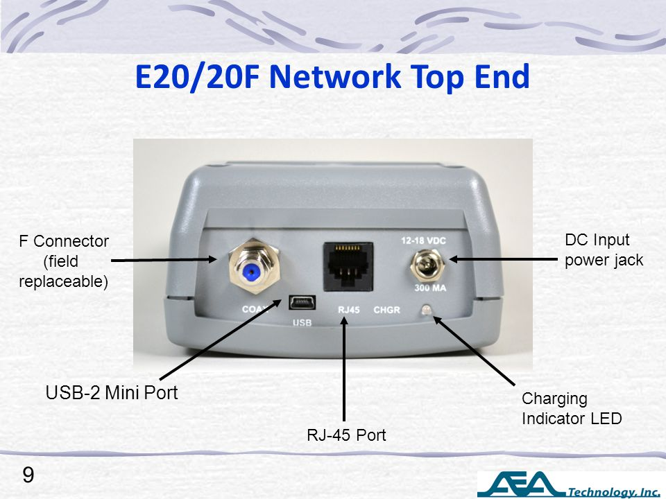 E20/20F Network Top End F Connector (field replaceable) USB-2 Mini Port RJ-45 Port DC Input power jack Charging Indicator LED 9