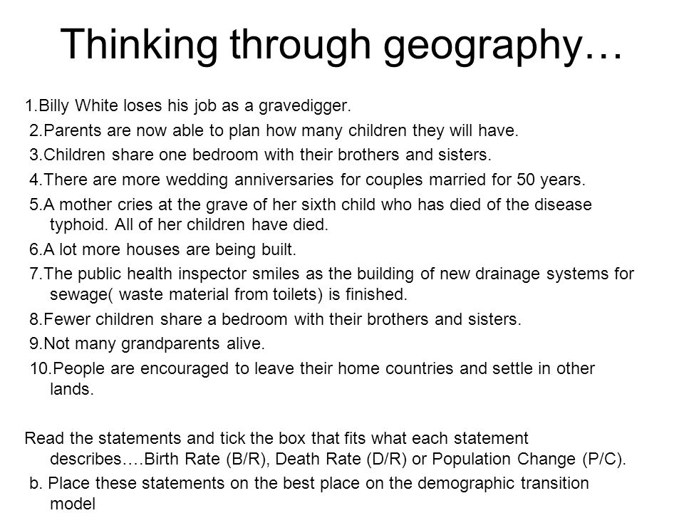 Thinking through geography… 1.Billy White loses his job as a gravedigger. 2.Parents are now able to plan how many children they will have. 3.Children
