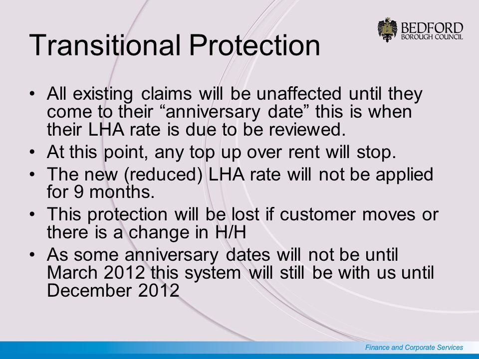 Transitional Protection All existing claims will be unaffected until they come to their anniversary date this is when their LHA rate is due to be reviewed.